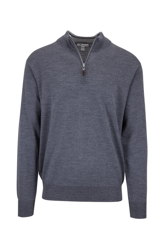 Peter Millar Crown Charcoal Gray Soft Knit Quarter-Zip Pullover