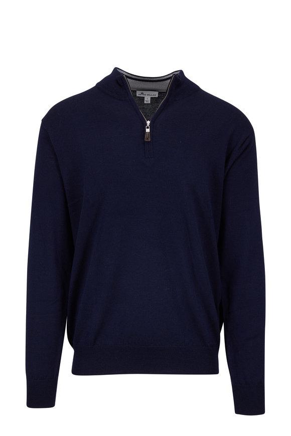 Peter Millar Crown Navy Blue Soft Knit Quarter-Zip Pullover