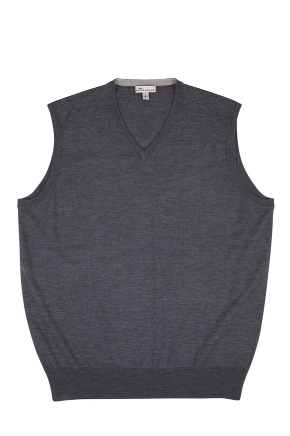 Peter Millar Crown Charcoal Gray Wool & Silk Soft Vest