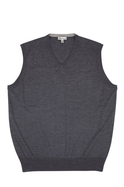 Peter Millar - Crown Charcoal Gray Wool & Silk Soft Vest