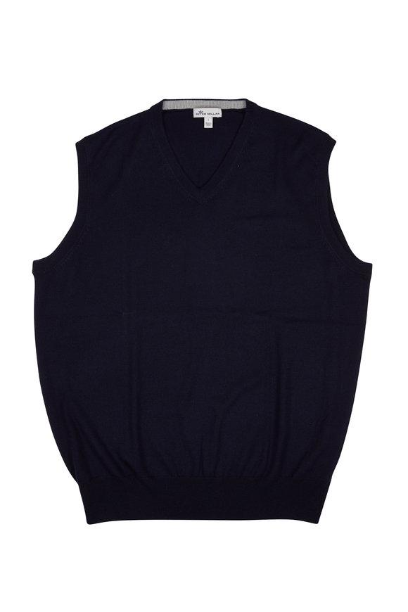 Peter Millar Crown Navy Blue Wool & Silk Vest