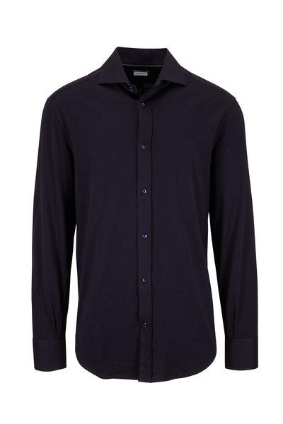 Brunello Cucinelli - Navy Blue Jersey Basic Fit Knit