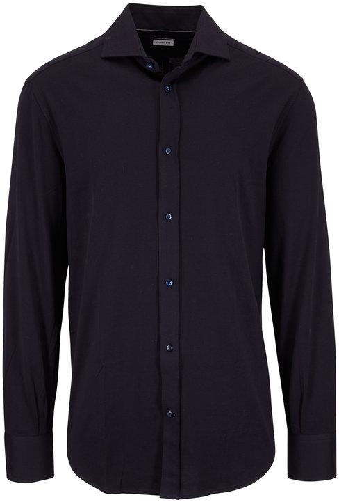 Brunello Cucinelli Navy Blue Jersey Basic Fit Knit