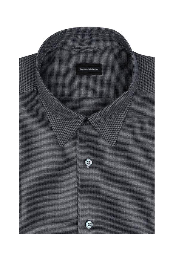 Ermenegildo Zegna Charcoal Gray Mini Houndstooth Sport Shirt