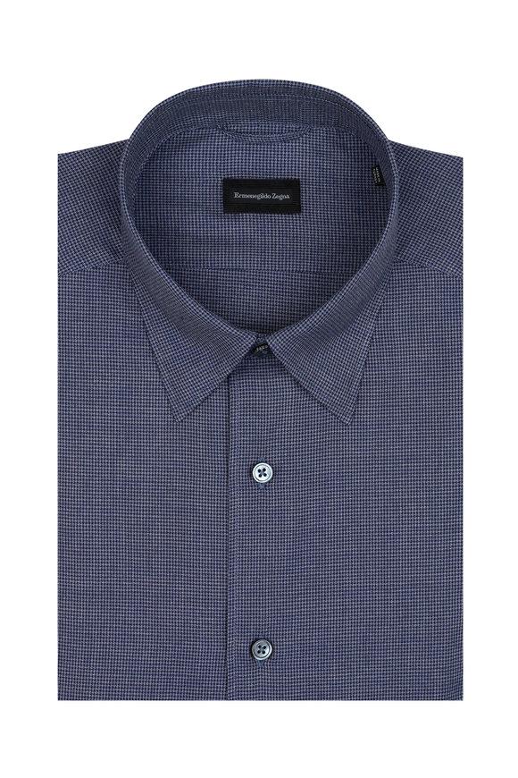Ermenegildo Zegna Blue Mini Houndstooth Sport Shirt