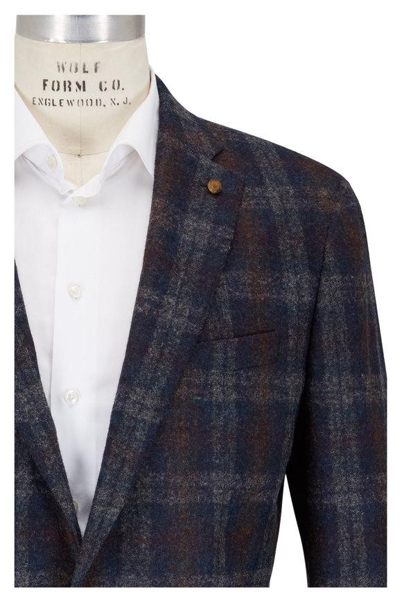 Peter Millar  Navy Blue & Brown Plaid Wool Blend Sport Coat