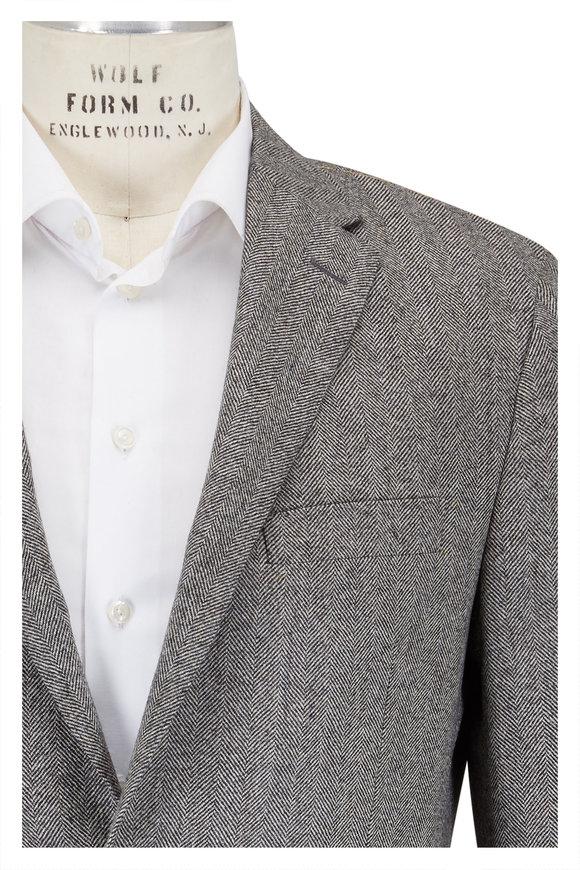Hickey Freeman Black & Natural Herringbone Sportcoat