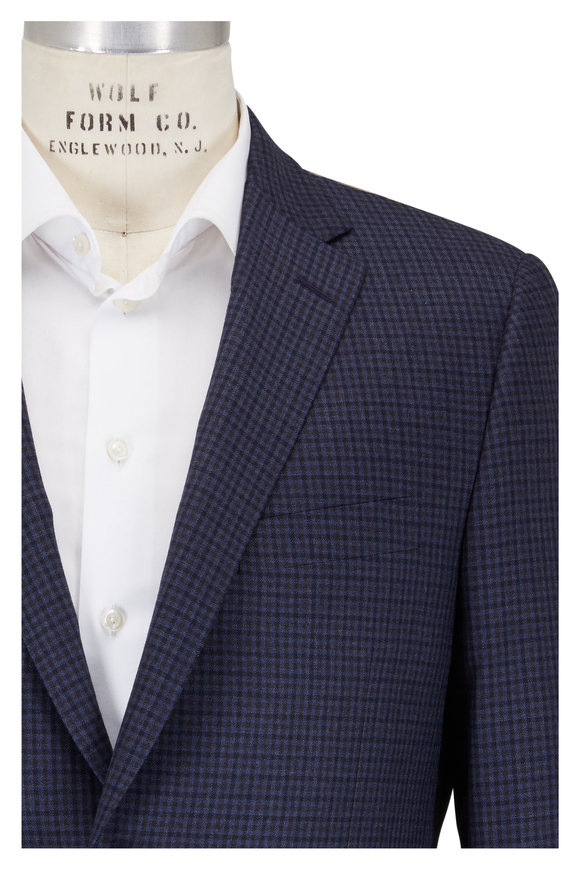 Hickey Freeman Blue & Gray Wool Check Sportcoat
