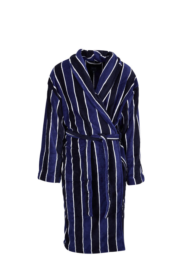 Majestic Winter Sky Striped Fleece Robe