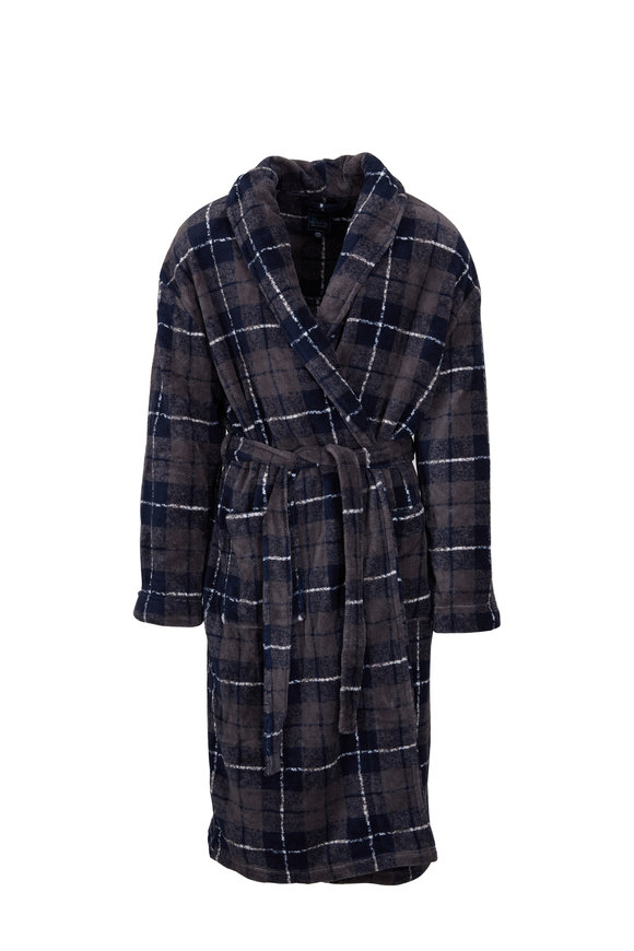 Majestic Navy Blue & Brown Plaid Fleece Robe