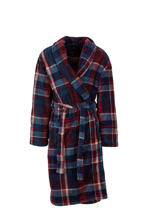 Majestic Red & Blue Plaid Fleece Robe
