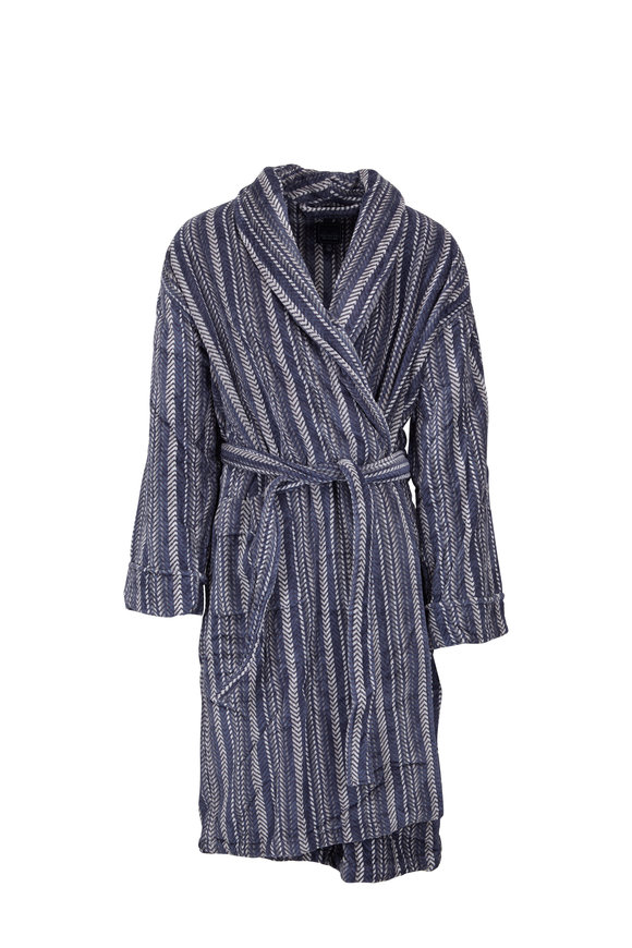 Majestic Blue Herringbone Cotton Fleece Robe