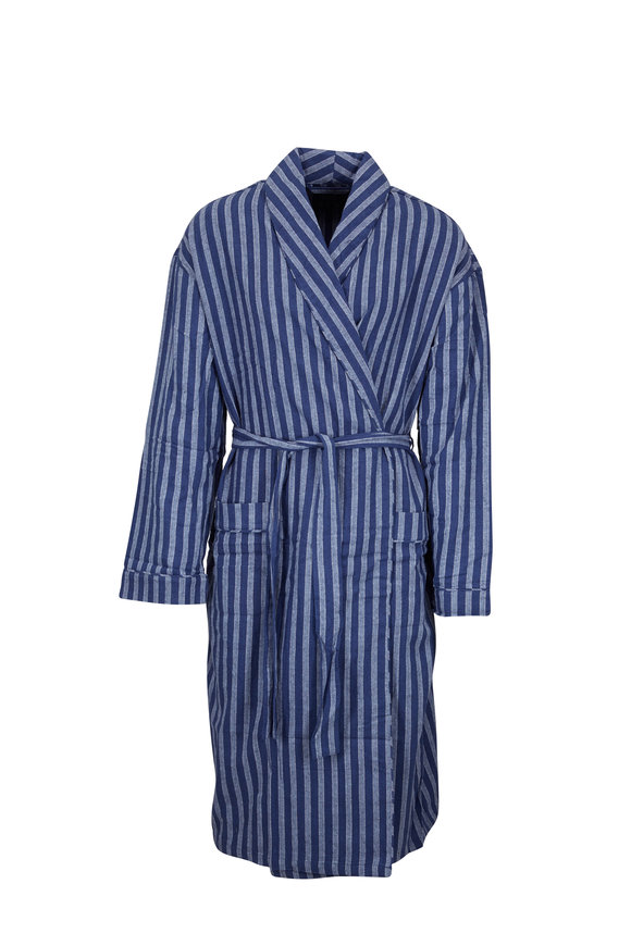 Majestic Blue Stripe Flannel Robe