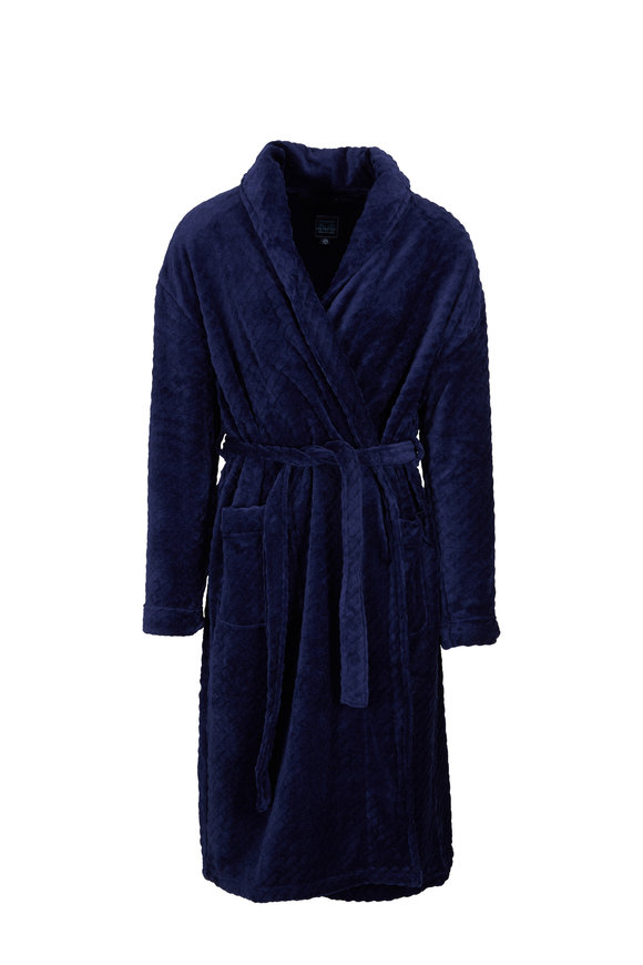 Majestic Fireside Navy Plush Robe