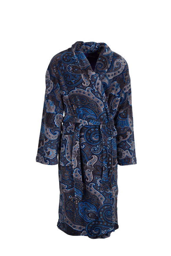 Majestic Gray Paisley Fleece Robe