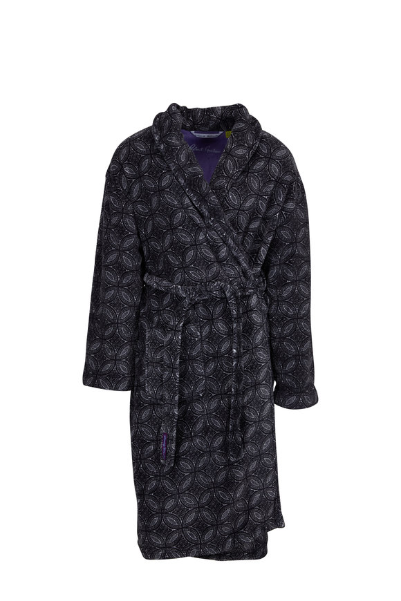 Majestic Black Diamond Printed Fleece Robe