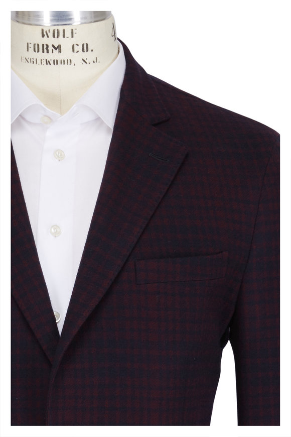 Boglioli Navy & Red Cotton & Wool Plaid Sportcoat