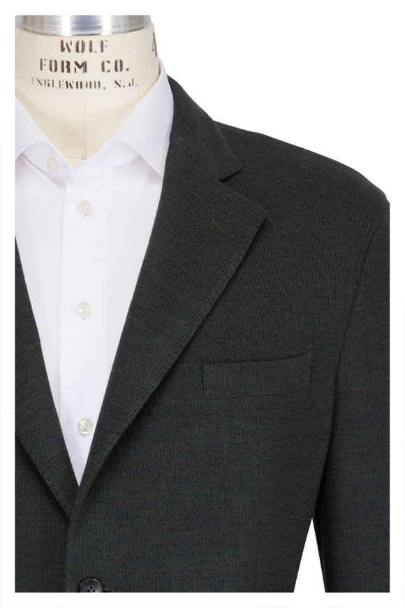 Boglioli Green Wool & Cotton Jersey Knit Sportcoat
