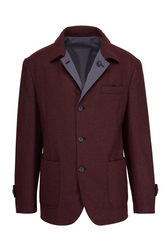 Brunello Cucinelli Burgundy & Grey Cashmere Reversible Rain Jacket