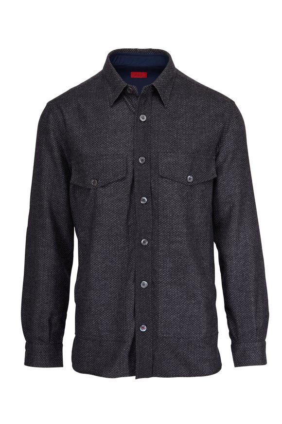 Isaia Grey Wool Tonal Check Overshirt