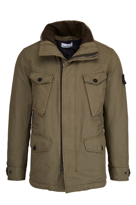 Stone Island Olive Green Nylon Military Jacket
