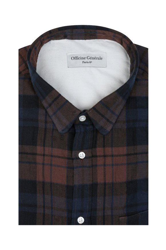 Officine Generale Brown & Blue Check Sport Shirt