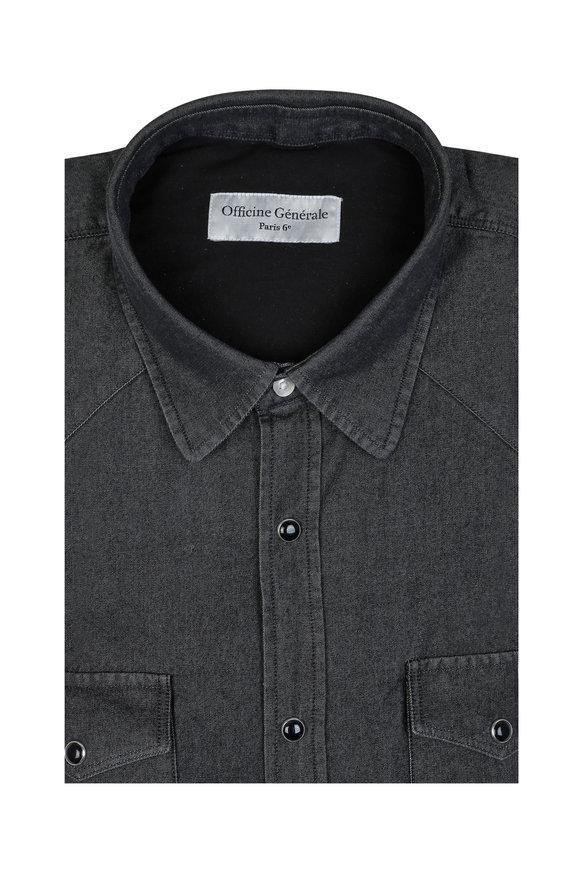 Officine Generale Gray Denim Sport Shirt