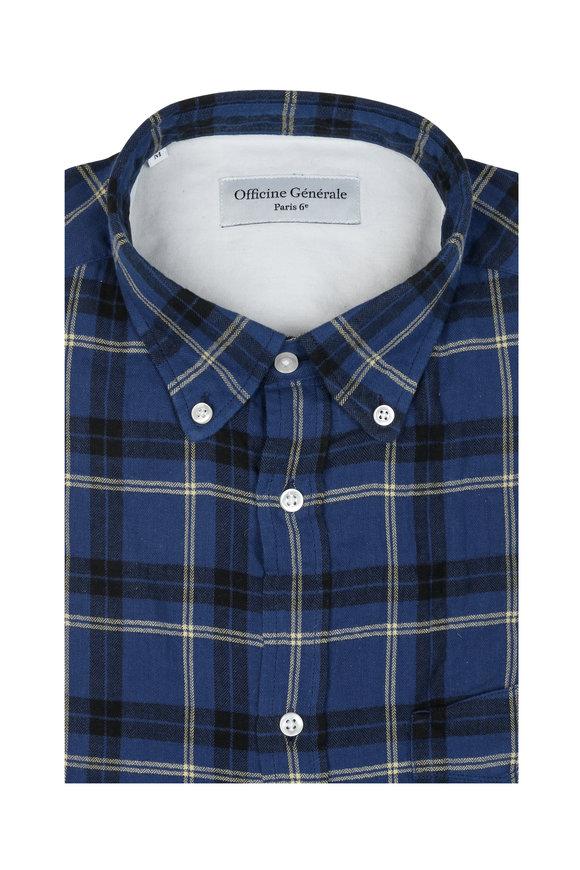 Officine Generale Blue Check Sport Shirt