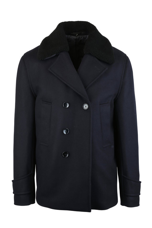 Officine Generale Navy Blue Shearling Trim Peacoat