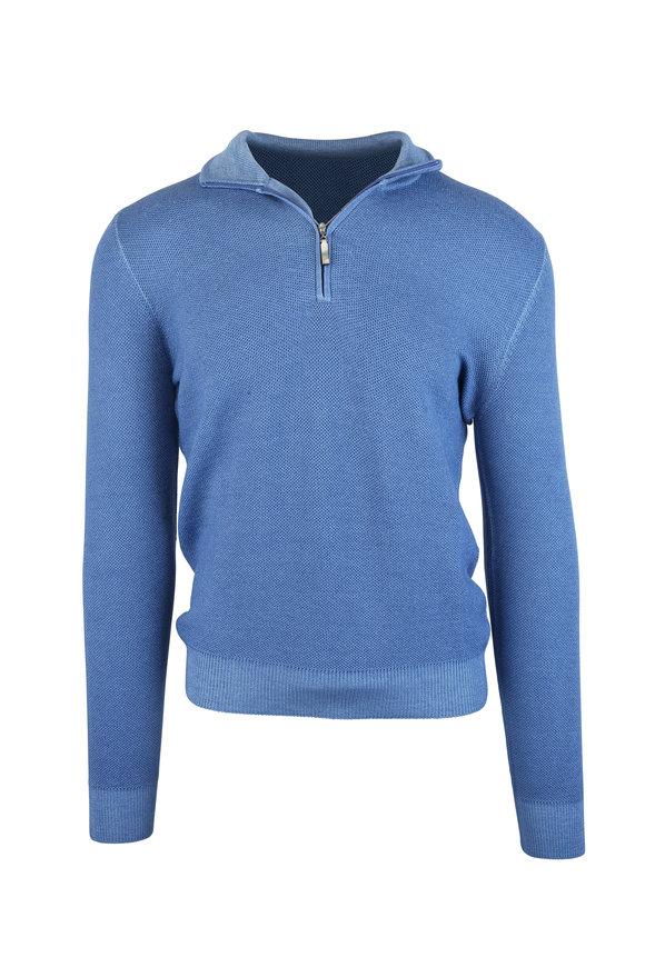 Gran Sasso Blue Wool Quarter-Zip Pullover