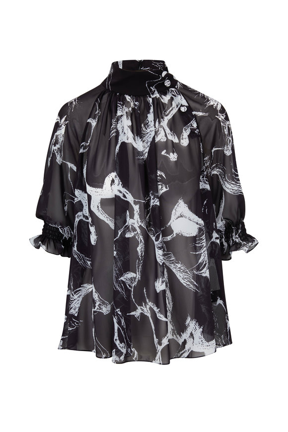 Adam Lippes Black & White Abstract Printed Smocked Blouse