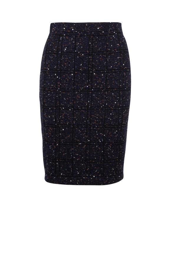 D.Exterior Black & Blue Pailette Stretch Tweed Pencil Skirt