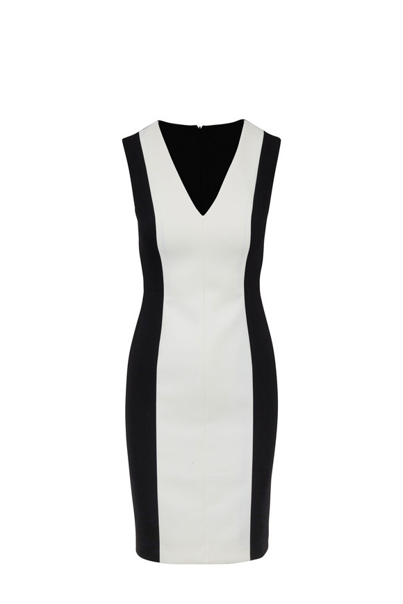 Paule Ka Black & White Bi-Color Sleeveless Dress