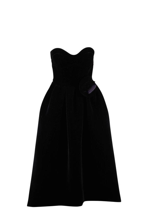Paule Ka Black Velvet Strapless Gown