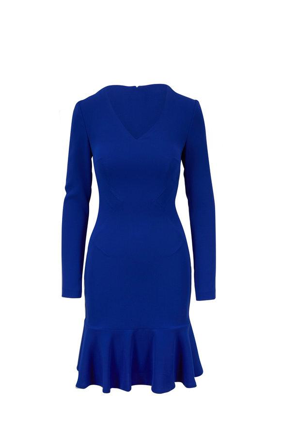 Talbot Runhof Ponwood1 Bright Blue V-Neck Long Sleeve Dress