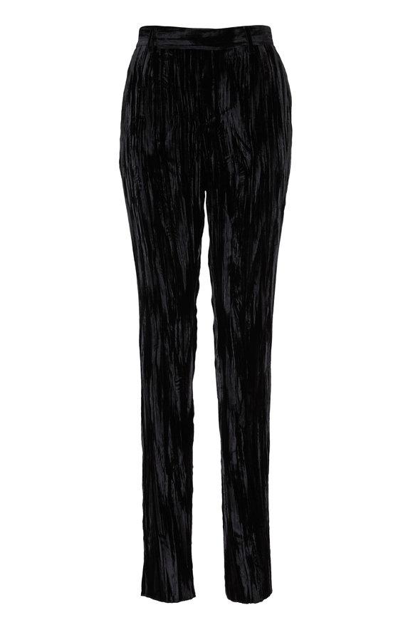 Saint Laurent Moire Black Crinkled Velvet Skinny Pant