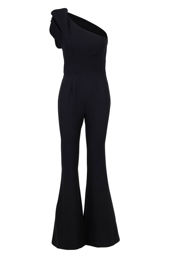 Safiyaa Kasia Black One Shoulder Wide Leg Jumpsuit
