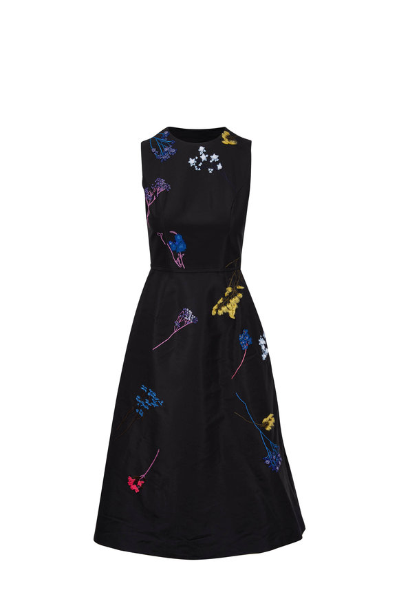 Carolina Herrera Black Floral Embroidered Sleeveless Dress