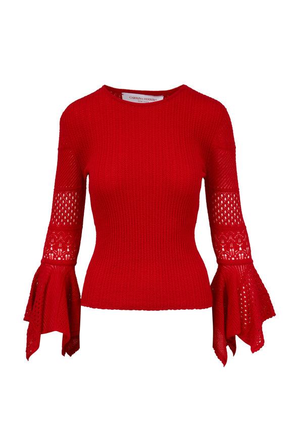 Carolina Herrera Red Pointelle-Lace Knit Cuff Detail Sweater