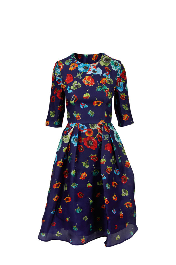 Carolina Herrera Blue Floral Print Elbow Sleeve Dress