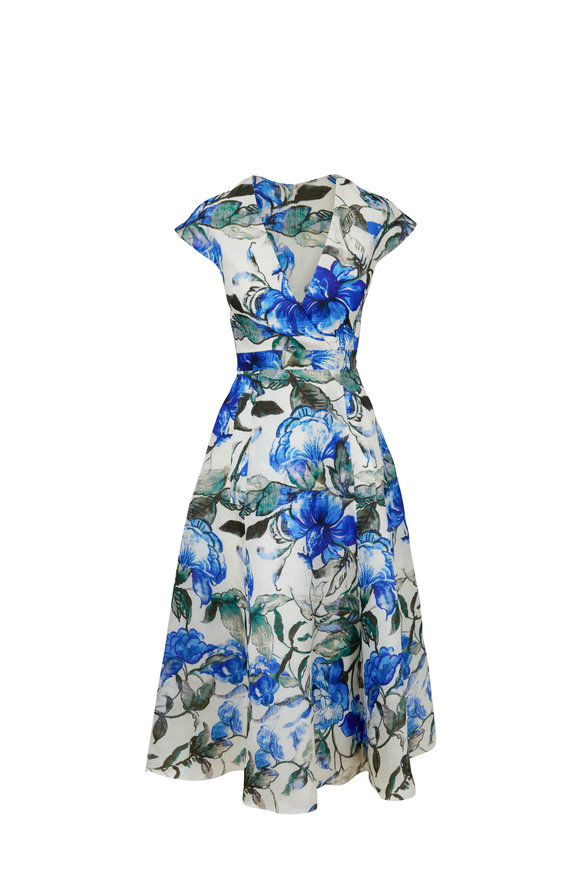 Carolina Herrera Blue Hibiscus Print Faux Wrap Dress