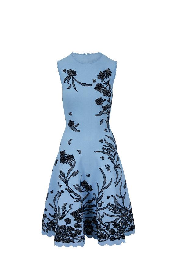 Carolina Herrera Sky Blue Jacquard Sleeveless A-Line Dress