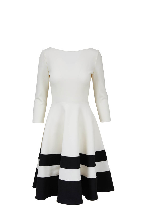 Carolina Herrera White & Black Bateau Neckline Fit & Flare Dress