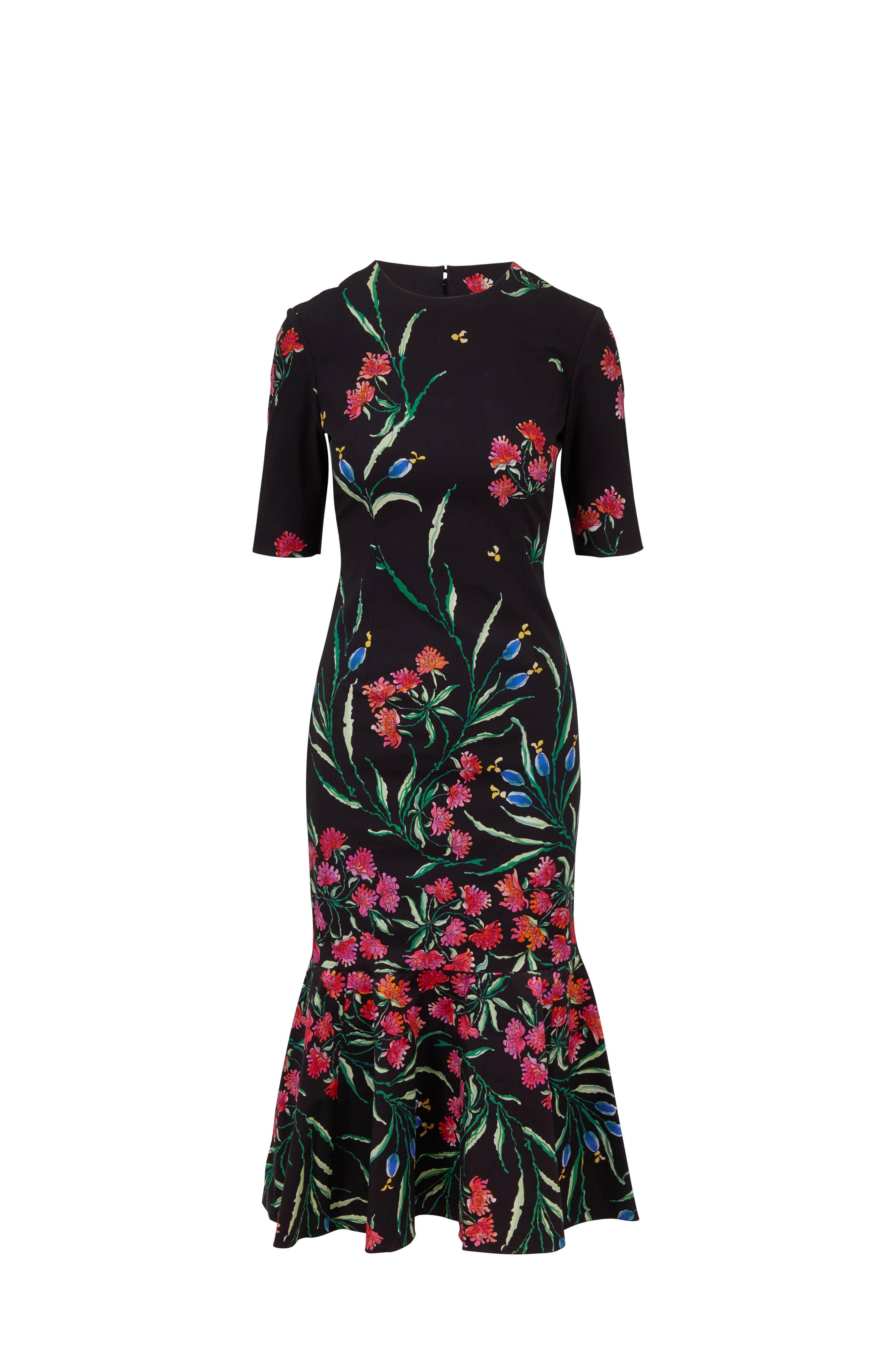 225663c0fb3cd Carolina Herrera. Black Floral Print Elbow-Sleeve Trumpet Midi Dress