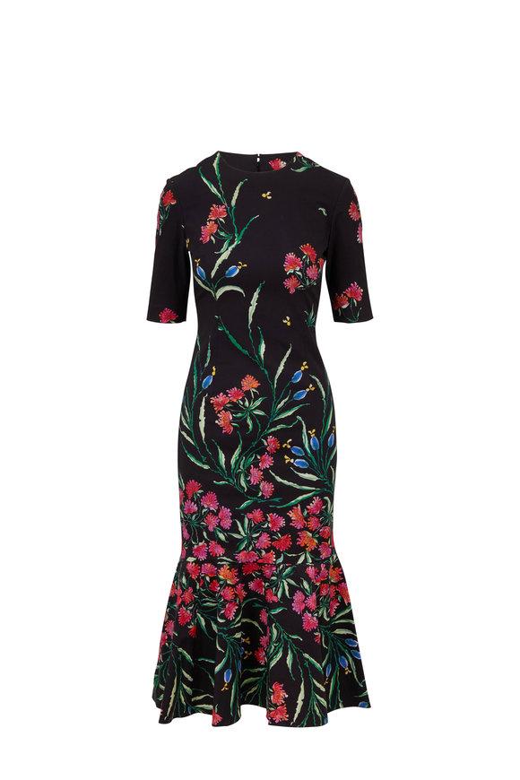 Carolina Herrera Black Floral Print Elbow-Sleeve Trumpet Midi Dress