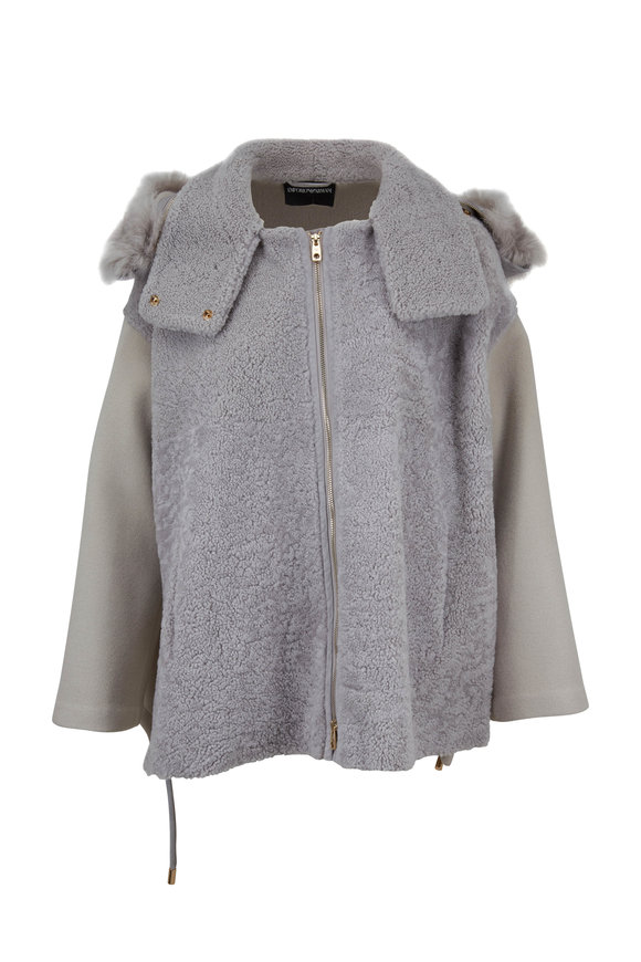 Emporio Armani Light Gray Dyed Shearling Hooded Boxy Jacket