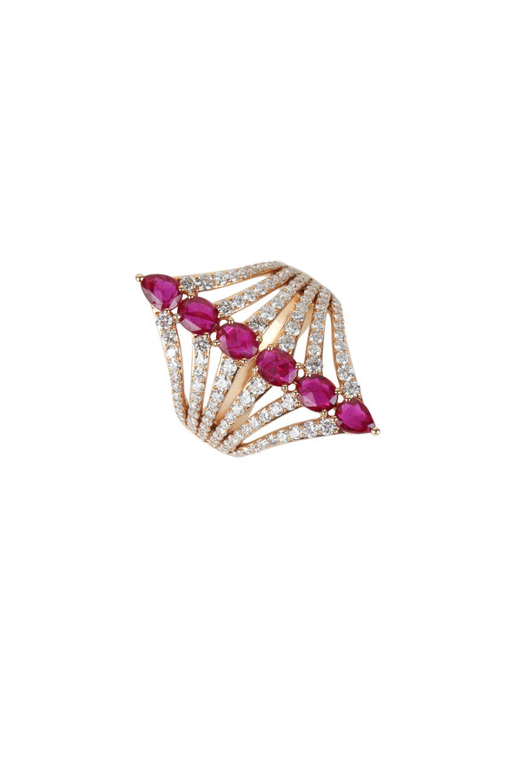 Sutra 18K Rose Gold Fancy Ruby & Diamond Ring