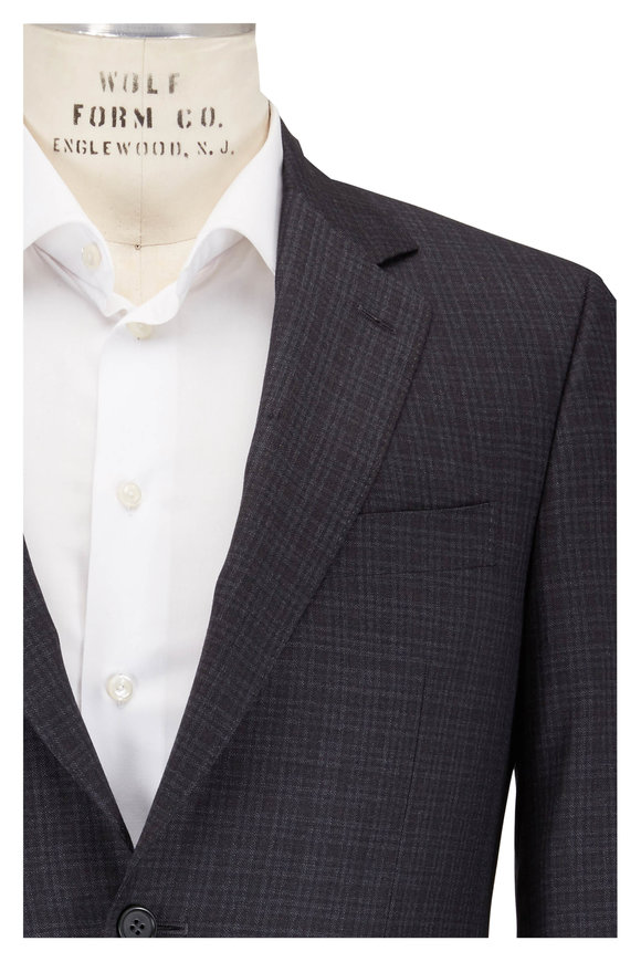 Canali Charcoal Gray Tonal Micro Check Wool Suit