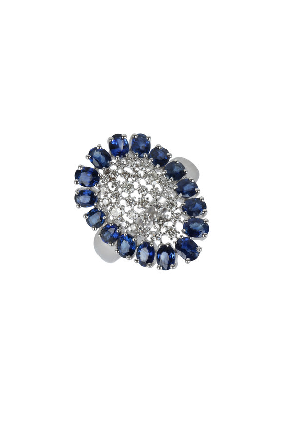 Sutra 18K White Gold Sapphire & Diamond Ring