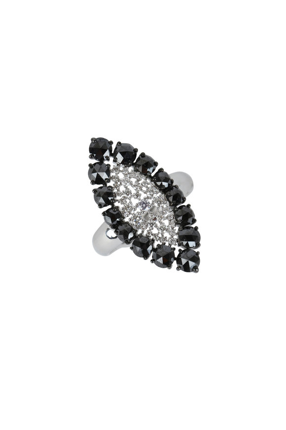 Sutra 18K White Gold Black & White Diamond Ring